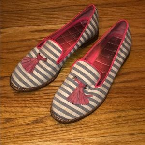 Striped Sperry loafers with tassels